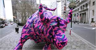 Yarn bombing the Bull