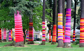 Yarn bombing trees