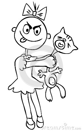 vector-illustration-children-s-cruelty-girl-torturing-cat-h-little-humor-42236769
